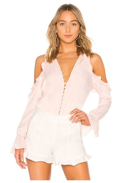 L'ACADEMIE The Bell Button Up in blush - Self: 100% polyLining: 100% rayon. Hand wash cold....