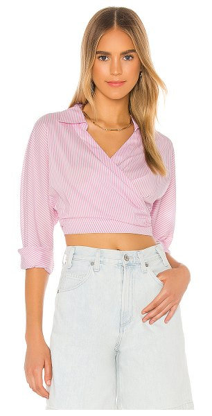 L'Academie the doreen top in pink & white stripe