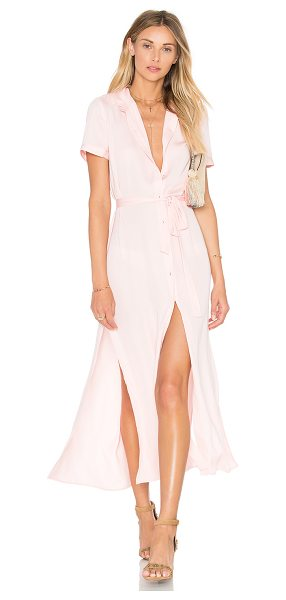 L'ACADEMIE The Maxi Shirt Dress in blush - 100% poly. Hand wash cold. Unlined. Button front...