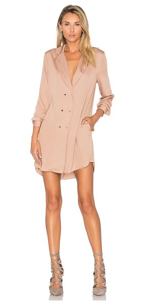 L'Academie The Military Dress in tan - 100% poly. Hand wash cold. Unlined. Front double...