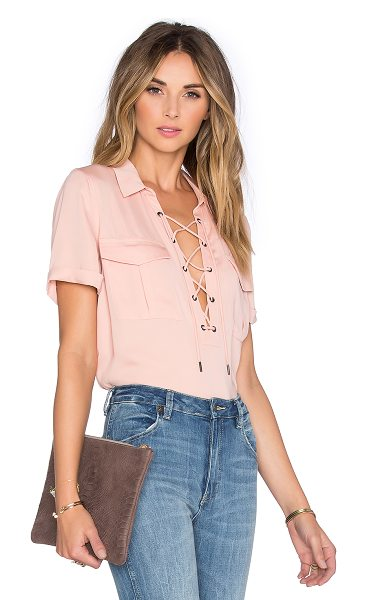 L'Academie The Safari Blouse in blush - 100% poly. Dry clean only. Lace-up front with tie...