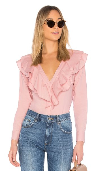 L'Academie The Solene Button Up in pink - Waves of layered ruffles highlight the ladylike elegance...