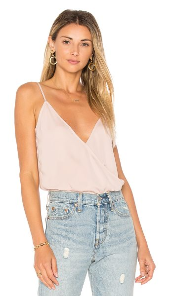 L'Academie The Surplice Bodysuit in blush - Serve sultry up in a simple package with The Surplice...