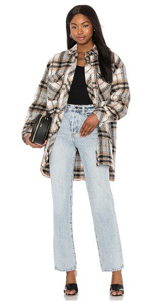L'Academie zuma shacket in neutral plaid