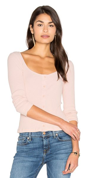 LACAUSA Julia Top in rose - 100% cotton. Button front closures. Rib knit fabric....