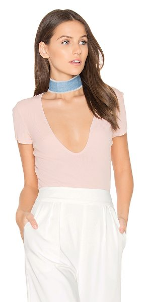 LACAUSA Rib Scoop Tee in blush - 100% cotton. Side seam splits. Rib knit fabric....