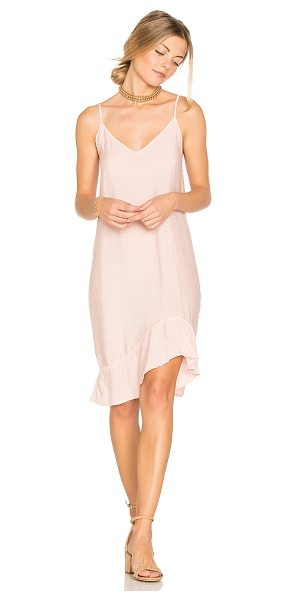 LACAUSA Ruffle Slip Dress in pink - 84% rayon 16% nylon. Unlined. Crinkled fabric. Shirred...