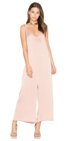 LACAUSA Santi Jumpsuit in rose - 51% viscose 49% rayon. Side slit pockets. Satin fabric....