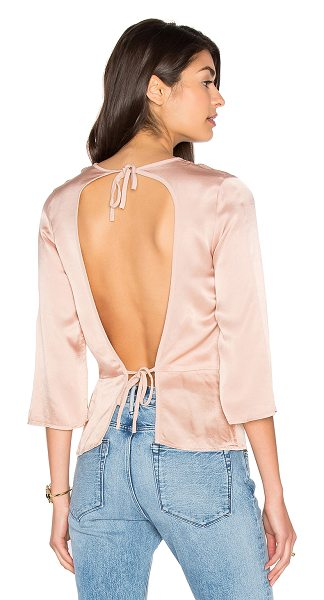 LACAUSA Tie Back Top in rose - 51% viscose 49% rayon. Open back with double tie...