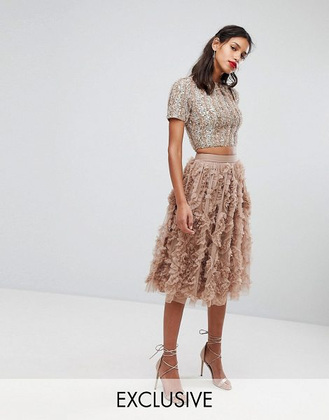 LACE & BEADS lace & beads tulle midi skirt with 3d shirring detail in taupe