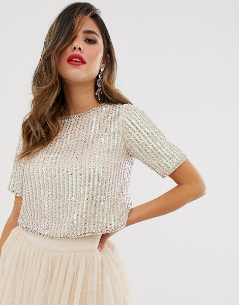 LACE & BEADS embellished crop top with cap sleeve in pink in pink