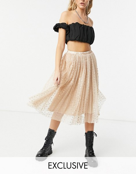 LACE & BEADS exclusive tulle coordinating midi skirt in rose gold metallic hearts in gold