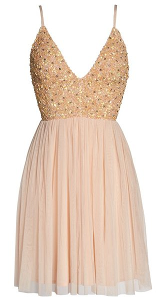 LACE & BEADS irina embellished chiffon dress in nude - Glittering beads and sequins add eye-catching sparkle to...