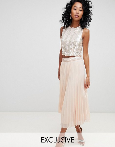 LACE & BEADS pleated midi skirt with embellished waistband in pink in pink