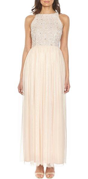 LACE & BEADS picasso embellished bodice maxi dress in nude - Coated in scintillating sequins, the cutaway-shoulder...