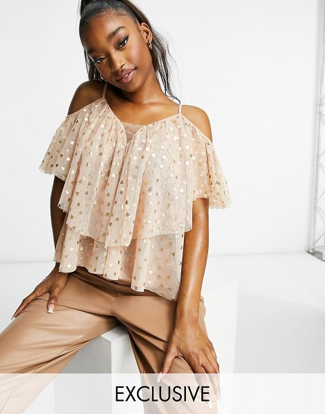 LACE & BEADS ruffle cold shoulder top in blush mini heart print-pink in pink