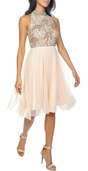 LACE & BEADS simone fit & flare dress in beige - Turn heads in this dazzling, party-ready frock featuring...
