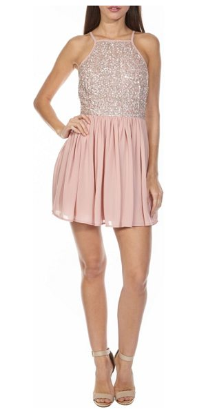 LACE & BEADS sprinkle sequin skater dress in pink - Silvery sequins add glam sparkle to a sweet, pink skater...