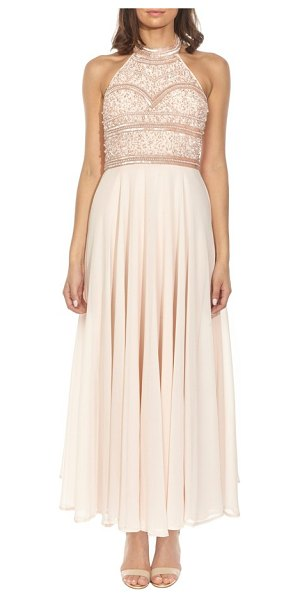 LACE & BEADS sunrise embellished halter maxi dress in nude - Light-catching sequins and lustrous beads trace opulent...