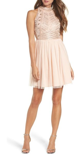LACE & BEADS wren beaded skater dress in nude - A dazzling geometric pattern of beads and sequins sets a...