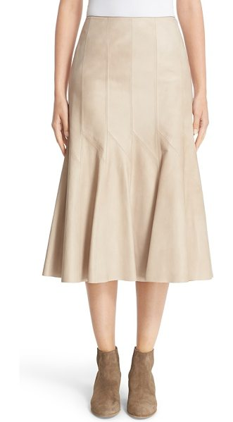 Lafayette 148 New York 'aria' lambskin leather skirt in taupe - Crafted from buttery-soft lambskin leather, this...