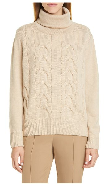 Lafayette 148 New York cable knit cashmere sweater in beige