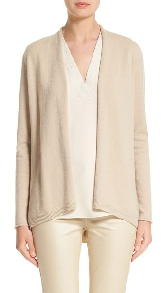 Lafayette 148 New York cashmere cardigan in bisque - Rolled edges add to the casual charm of this...