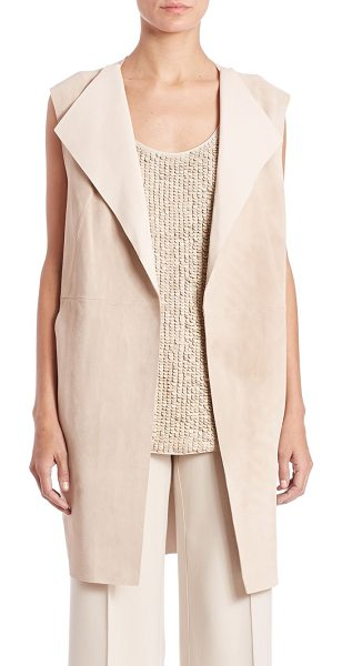 Lafayette 148 New York celeste suede vest in bisque - Supple suede vest in chic long length. Wide fold-over...