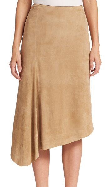 Lafayette 148 New York Chantee asymmetrical suede skirt in dune - Crafted from ultra-smooth lamb suede, this asymmetrical...
