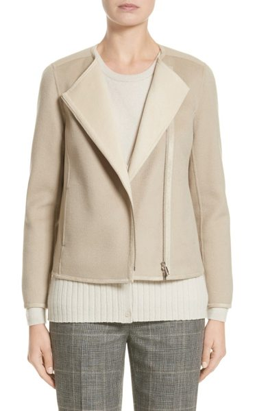 LAFAYETTE 148 NEW YORK christa wool & cashmere jacket in khaki/ oro - Woven from a luxurious blend of wool and cashmere, this...