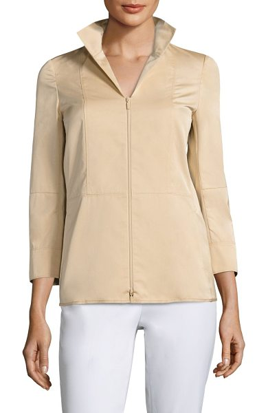 Lafayette 148 New York cicely jacket in honeynut - Seamed jacket framed by three-quarter sleeves. Spread...