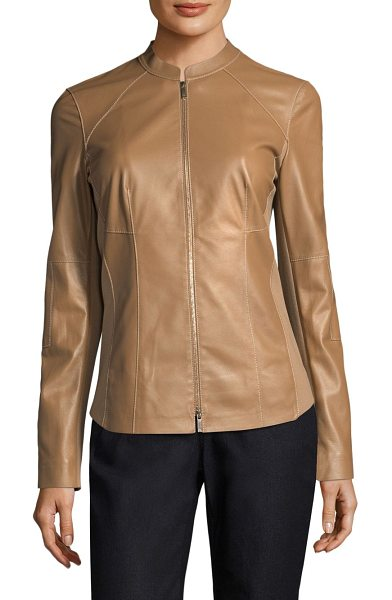 Lafayette 148 New York embla leather jacket in camel - Distinctively seamed jacket with ponte fabric detail....