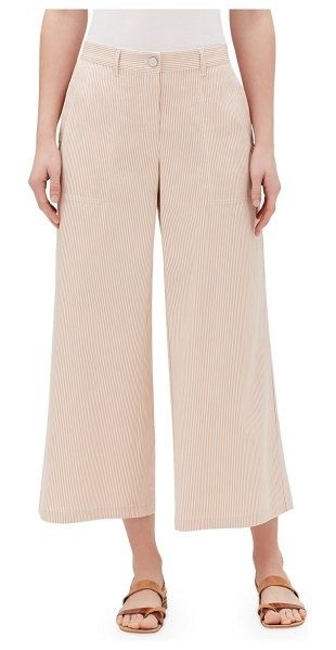 Lafayette 148 New York Fulton Majestic Micro Striped Cropped Wide-Leg Pants in clay multi