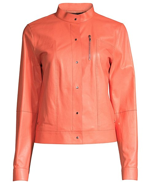 Lafayette 148 New York galicia leather jacket in peach rose