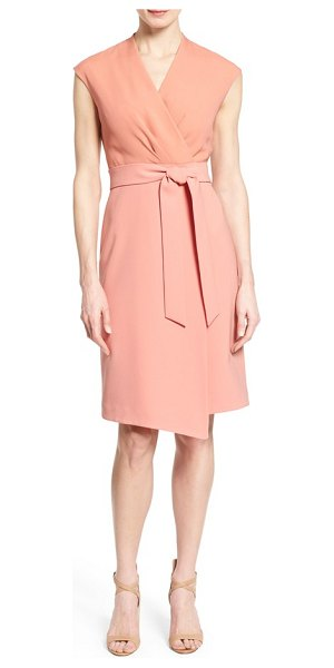 Lafayette 148 New York grayson belted mixed media sheath dress in porcelain rose - Color-blocked design and mixed-media styling combine for...