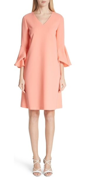 Lafayette 148 New York holly bell sleeve dress in coral - Breezy bell sleeves and side-seam pockets add modern...