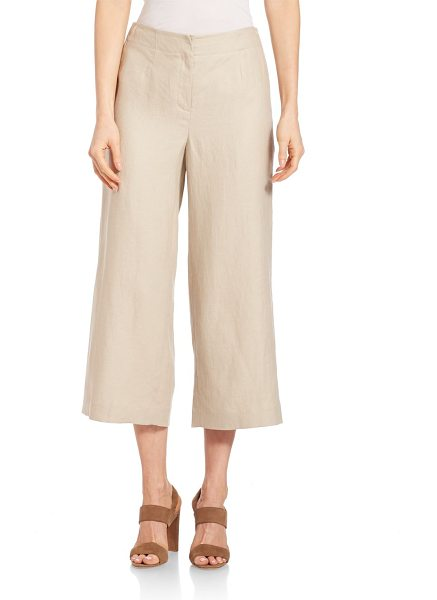 Lafayette 148 New York linen charlton pants in khaki - Stylish linen pants with a cropped, wide leg. Zip fly...