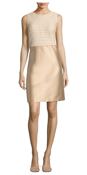 Lafayette 148 New York paolo mixed media dress in champagne - Textured bodice tops gleaming shantung skirt. Roundneck....