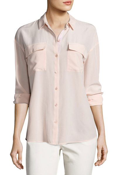 "Lafayette 148 New York Pasha Long-Sleeve Button-Front Silk Blouse in light pink - Lafayette 148 New York ""Pasha"" blouse in sand-washed..."