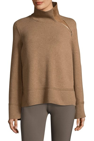 Lafayette 148 New York rib cropped sweater in camel - Cozy sweater enhanced with suede zip insert. Ribbed...