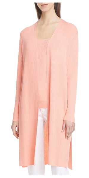 Lafayette 148 New York ribbed longline cardigan in pink