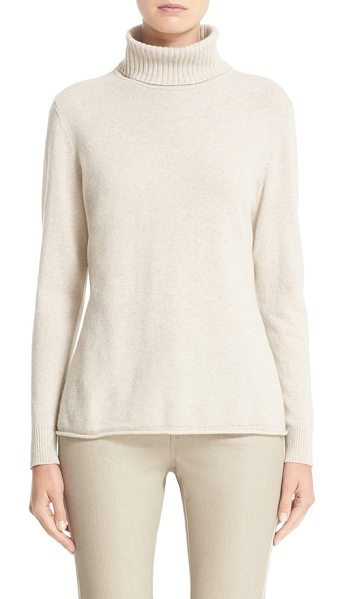 Lafayette 148 New York wool & cashmere turtleneck sweater in ecru melange - An ultrasoft turtleneck knit from wool-and-cashmere...
