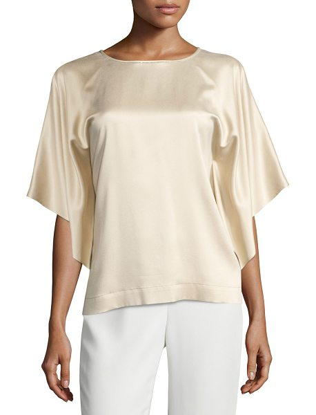 "Lafayette 148 New York Yara Chain-Trim Artistry Silk Blouse in gold - Lafayette 148 New York ""Yara"" blouse in ""Artistry"" silk...."