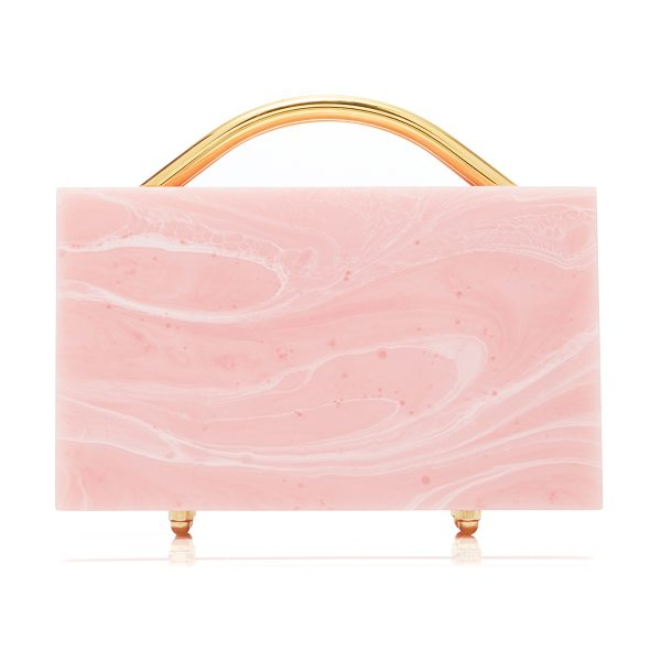 L'AFSHAR M'O Exclusive Eugene Small Marble Clutch in pink - L'Afshar's 'Eugene' clutch has been expertly handmade...