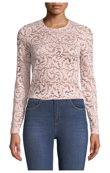 "L'Agence Annika Long-Sleeve Lace Top in champagne - L'Agence ""Annika"" top in metallic lace. Approx. 23.1""L..."