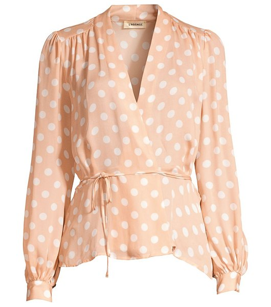 L'Agence cara silk polka dot wrap blouse in petal ivory - Flattering blouson sleeve blouse in a waist-defining fit...