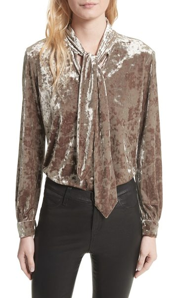 L'Agence gisele crushed velvet tie neck blouse in mink - Lustrous crushed velvet, the must-have fabric for the...