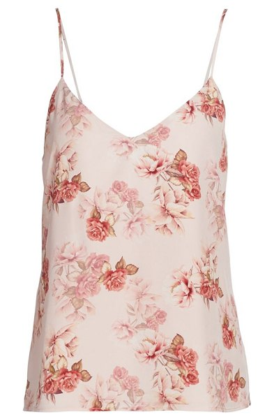 L'Agence jane floral silk tank in blush rose