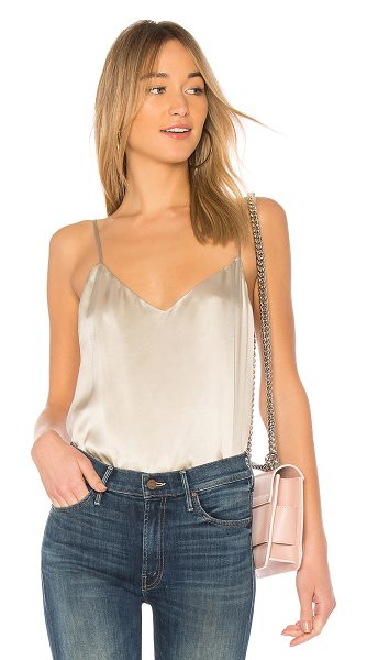L'Agence Jane Top in metallic silver - Self & Lining: 100% silk. Dry clean only. Adjustable...