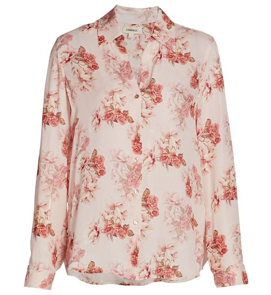 L'Agence nina floral silk blouse in blush rose
